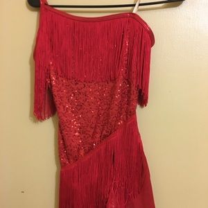 Dance costume with red sequins